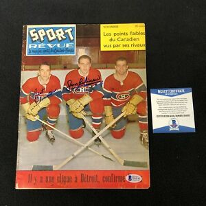 Jean Beliveau Bert Olmstead Signed Canadiens Sport Revue Magazine Beckett COA