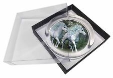 Two White Unicorns Glass Paperweight in Gift Box Christmas Present, UC-1PW