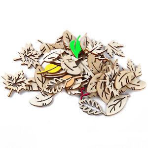 50PCS Wood Slice Leaves Wood Embellishment Wood Piece Wood Cutout Gift CZ