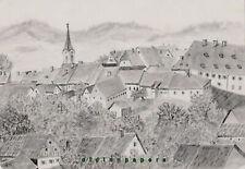 Tirschenreuth Klosterkirche Stadtansicht Bleistift Zeichnung Kalb Erlangen 1886