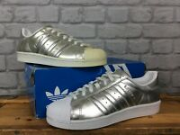 ADIDAS ORIGINALS LADIES UK 7 EU 40 2/3 METALLIC SILVER SUPERSTAR BOOST TRAINERS