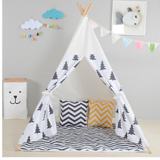 Children's Teepee Pine Tree Play Tent Kids Fun Indoor Cubby House Fun Theme