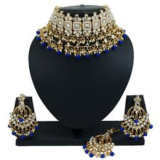Gold Plated Choker Kundan Pearl Necklace Earrings Blue Bollywood Bridal Jewelry