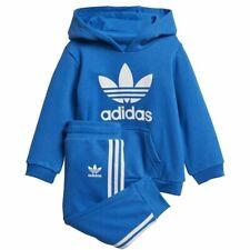 adidas Originals infant blue Trefoil hooded set. Ages 0-4 years.