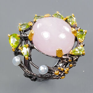 Jewelry Handmade Morganite Ring Silver 925 Sterling  Size 8.75 /R174115