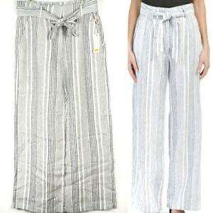C&C California Womens Linen Wide Leg Pants Black & White Stripe Belt Pockets 6