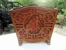 ART DECO STYLE WOOD FOLK ART MAGAZINE RACK CUT OUT FRETWORK WATER NYMPH ACCENTS