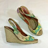 MISSONI wedges sandals heels green yellow peeptoe slingback 38 UK 5