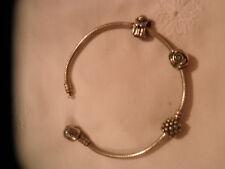 Pandora Armband mit 3 Charms ( Rose, Engel und Kugel)  925 Silber