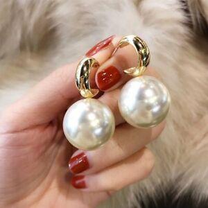 Elegant Big Pearl Drop Dangle Earrings Ear Stud Women Wedding Jewelry Gift