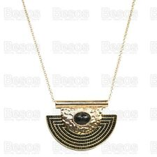 LARGE AZTEC HALF MOON pendant NECKLACE long chain TRIBAL hammered GOLD FASHION