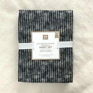 Pottery Barn Teen Queen Distressed Stripe Organic sheet set Grey Faded Black