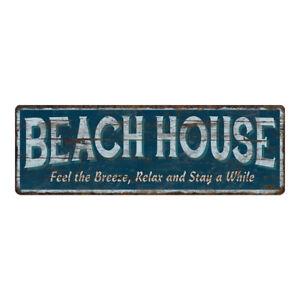 Beach House Sign Blue Rustic Decor Vintage Home Coast Decoration 106180091030