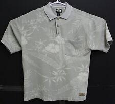 Tommy Bahama Mens Grey White Hawaiian Floral Polo Short Sleeve Shirt M EUC