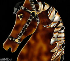 Galopin Horse Head Brooch Pin France Lea Stein Paris Figural Chocolate Caramel