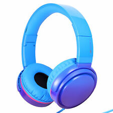 RockPapa DJ Foldable Headphones Headset Adjustable iPod iPad DVD Gradient Blue