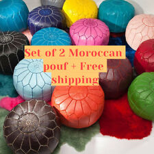 Set of 2 Moroccan Pouf Moroccan leather pouf pouff ottoman footstool handmade