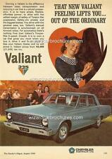 1966 CHRYSLER VALIANT VC SEDAN A3 POSTER AD SALES BROCHURE ADVERTISEMENT ADVERT