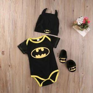 0-6M Newborn 3Pcs Outfit Baby Boy Jumpsuit Kids Clothes Batman Romper+Shoes+Hat