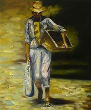 Gemälde - Mann mit Kasten handgemalt Leinwand Acryl Malerei modern Tüte Beutel