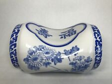 More details for chinese blue and white porcelain pillow head rest decorated with flowers