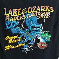 Harley-Davidson Mens Motorcycle Black Lake of the Ozarks Osage Beach Size Medium