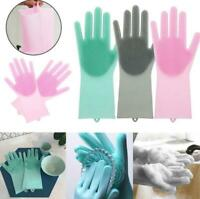 Magic Silicone Dish Washing Gloves Kitchen Garden Rubber  Cleaning Scrubber 1pcs