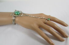 N. Women Silver Metal Bracelet Hand Chain Fashion Jewelry Slave Ring Green Brown