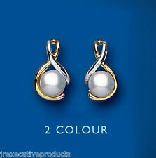 Freshwater Pearl earrings Cultured Pearl Studs Yellow Gold Pearl earrings