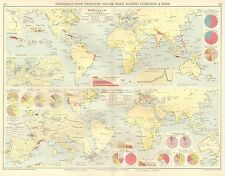 Mapa de 1928 ~ ~ productos básicos del mundo Azúcar Vino pasas grosellas & saltos de producción