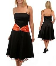 Women's Sexy Black Satin Dress Orange Center Sash With Center Pendant Size XL