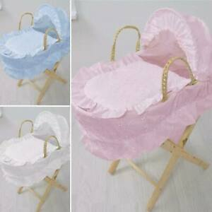 Pink/Blue/White Dolls Moses Basket & Stand BEST QUALITY BRAND NEW Girls Toy Doll