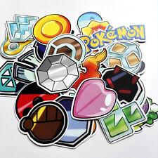 HMQC 33pcs pokemon Gym Badges stickers For Skateboard Laptop Luggage Car