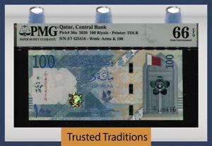 TT PK 36a 2020 QATAR CENTRAL BANK 100 RIYALS PMG 66 EPQ GEM UNCIRCULATED!