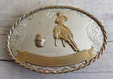 Barrel Racing Western Rodeo Award Nickel Silver Vintage Belt Buckle