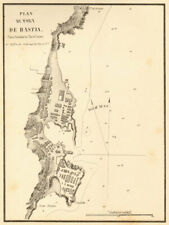 Plan du port de Bastia. Corse Corsica. Gauttier 1851 old antique map carte