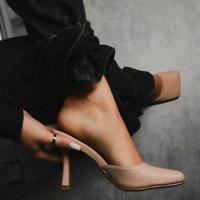Pantoletten Damen Stilettoabsatz Pumps Slip On Sandalen Hausschuhe Geschlossen