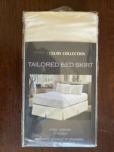 """Hotel Luxury Collection Tailored Bed Skirt 16"""" Drop King Size Cream Comfort New"""
