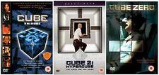 CUBE Trilogy Complete DVD Movie Collection Set Part 1+2+3 Hypercube Cube Zero