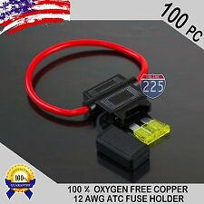 100 Pack 12 Gauge ATC In-Line Blade Fuse Holder 100% OFC Copper Wire + 1A - 40A