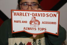 Harley Davidson Motorcycle Parts & Accessories Gas Oil Porcelain Metal Sign