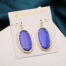 $52 Kendra Scott Elle Gold Drop Medium Earrings in cobalt blue NEW