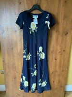 RRP £32 - URBAN RENEWAL VINTAGE MIDI SHIFT DRESS Navy Blue Floral UK 12 - VGC
