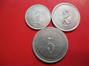 France. Nécessité. Superbe lot 1 - 2 - 5 francs Manufrance St Etienne. Aluminium