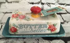 Pioneer Woman Stoneware Vintage Floral Design Butter Dish with Red Floral Knob