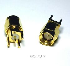 Connector RP.SMA male JACK PIN solder PCB mount straight 5.08mm - UK seller
