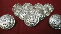 Vintage Lot of 12 Waterbury Co. Silver Colored Eagle Embossed Buttons #10