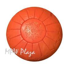 MPW Plaza Pouf, Orange, Moroccan Leather Ottoman (Stuffed)