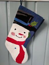 Snowman Christmas Stocking Blue Needlepoint Felt Back Lined Holiday
