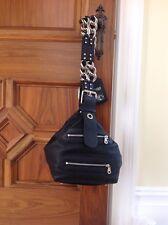 CHLOE PORTE EPAULE BLACK GRAINED MEDIUM SHOULDER BAG WITH SILVER CHAIN